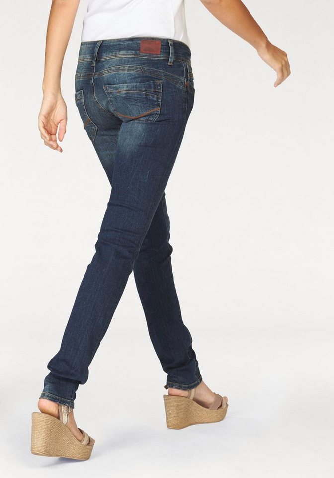 Cross Jeans® Röhrenjeans »Melissa« Doppelte Knöpfe am Bund in blue-stone