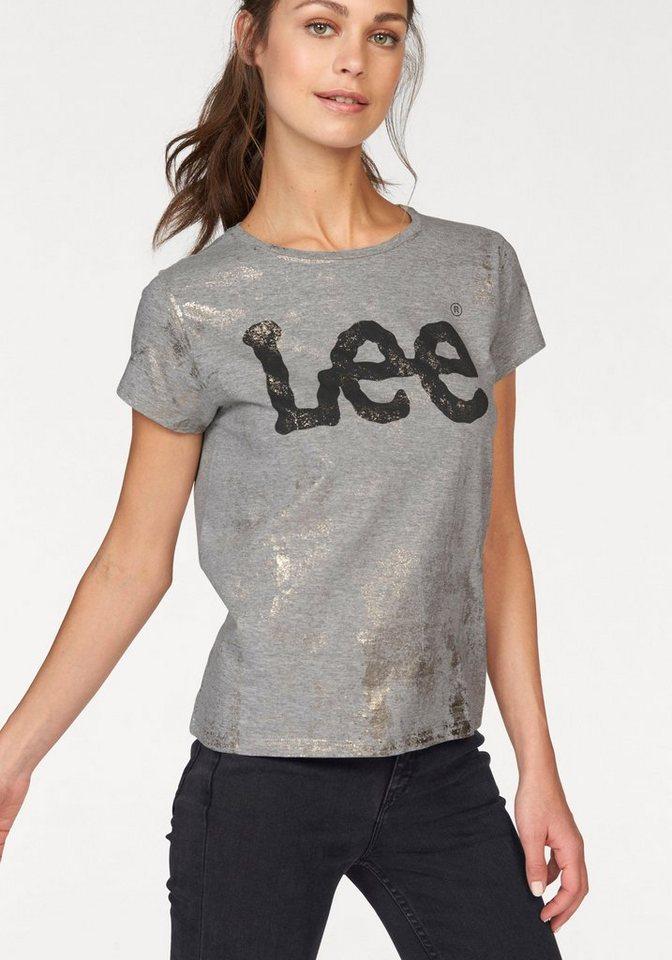 Lee T-Shirt mit Glitzerprint in grau