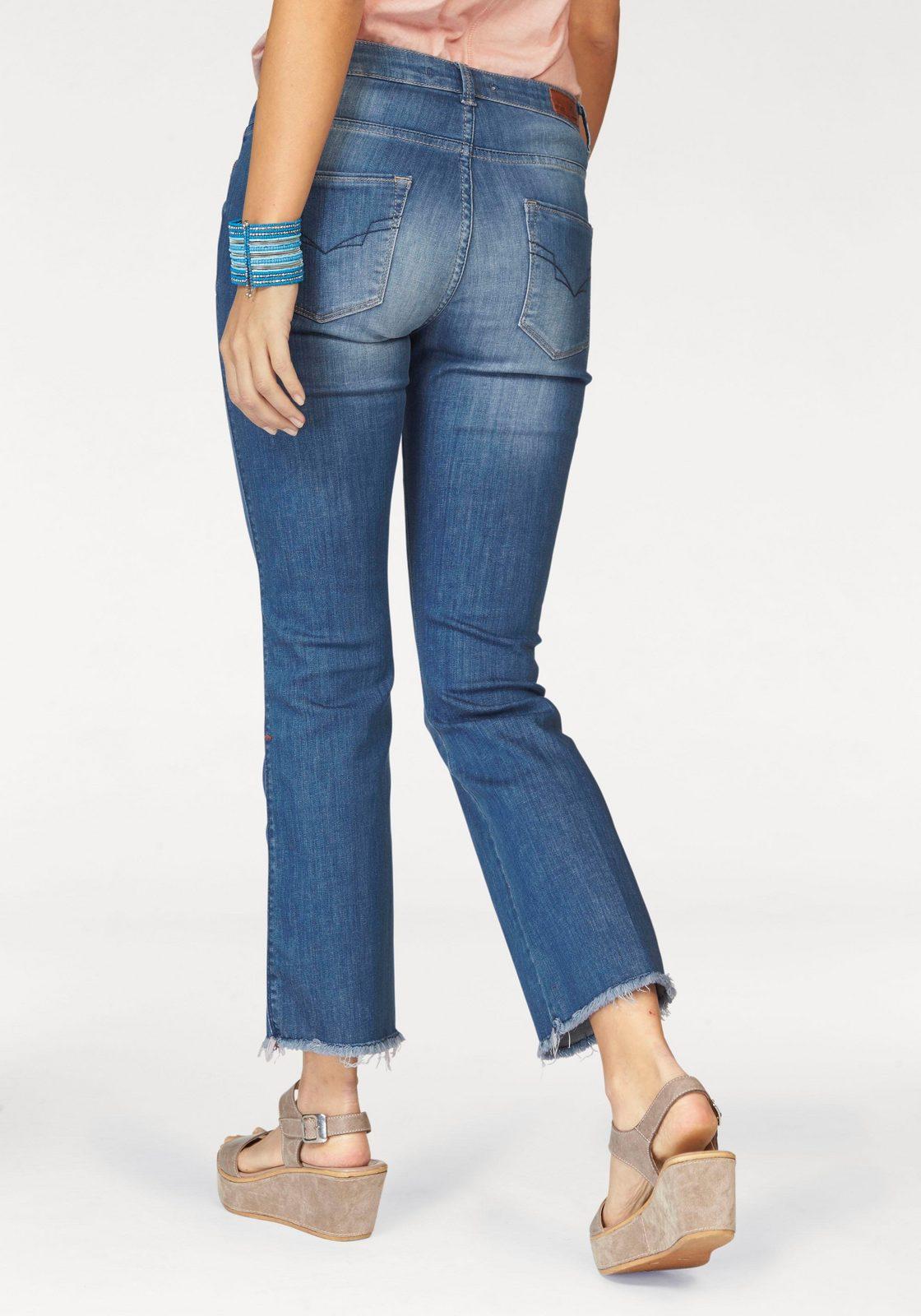 H.I.S Bootcut-Jeans »Cropped Sunny«, Mit Fransen am Saum - broschei