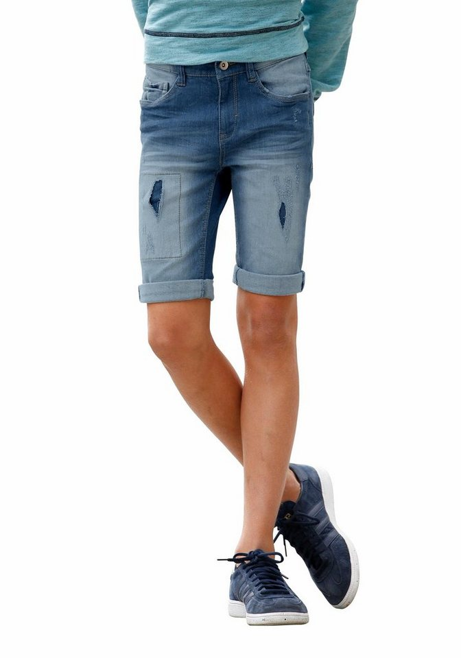 s.Oliver RED LABEL Junior Jeansbermudas mit Destroyed-Effekt in blue-denim