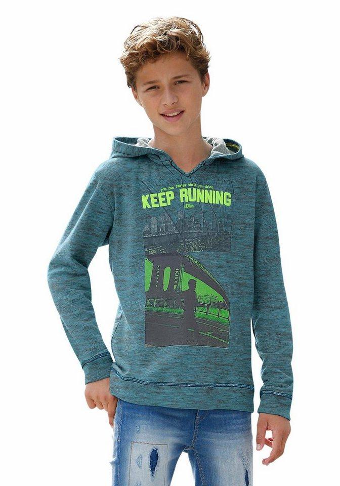 s.Oliver RED LABEL Junior Kapuzensweatshirt in melierter Optik in türkis-meliert