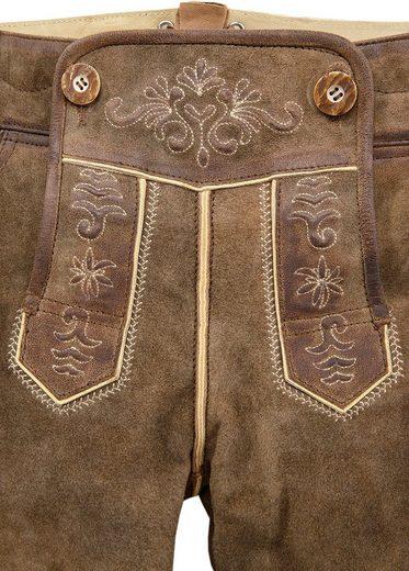 Country Line Trachtenlederhose kurz Damen mit Stickelementen