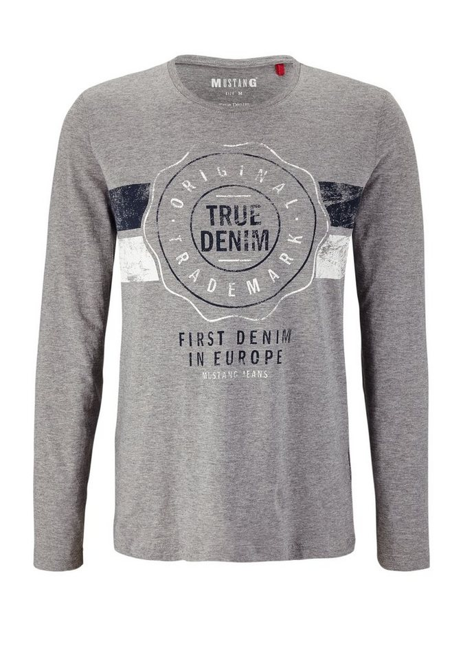MUSTANG Shirt in mid grey melange