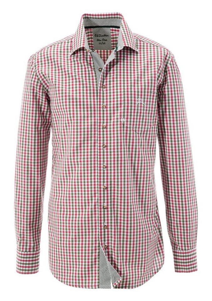Herren OS-Trachten Trachtenhemd mit Kontrastmanschetten    04006109118147