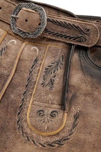 Marjo Trachtenlederhose kurz Herren mit dekorativer Gürtelschnalle