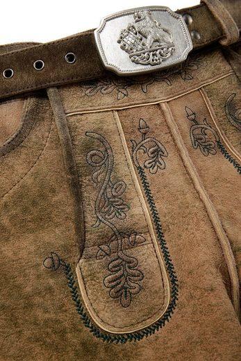 Hammerschmid Trachtenlederhose kurz Herren mit dekorativer Gürtelschnalle