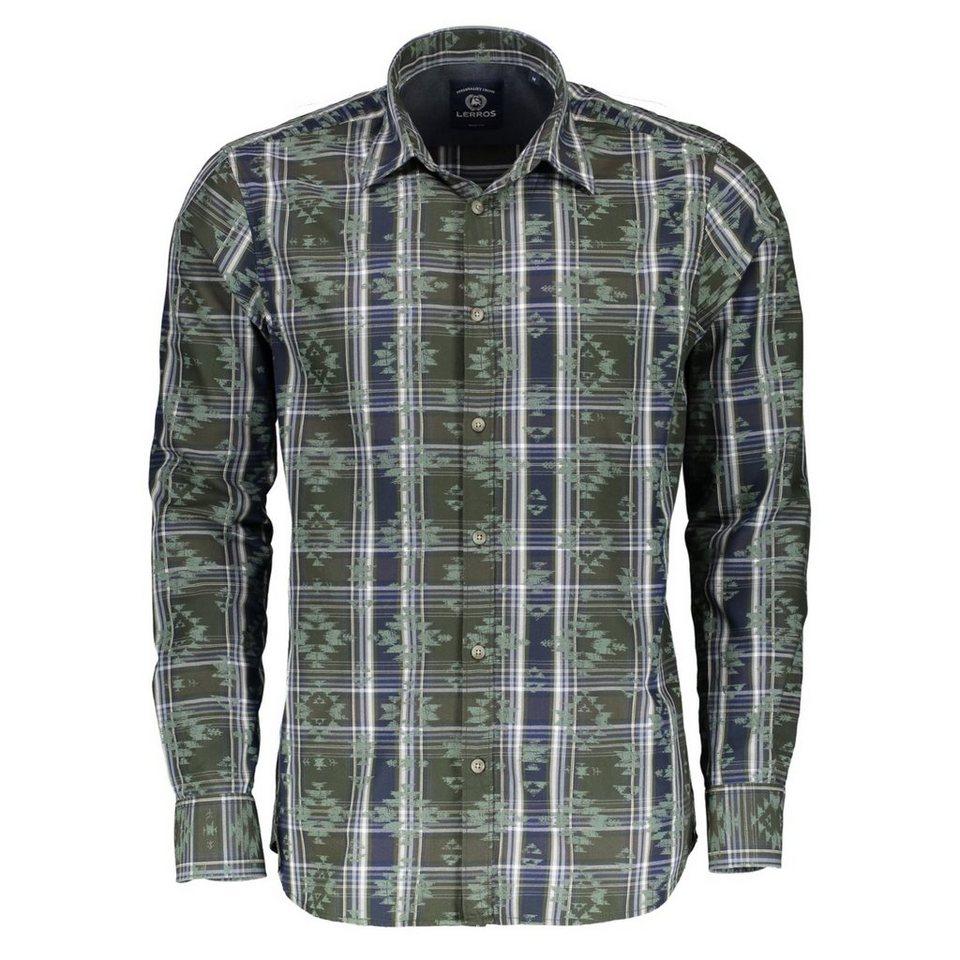 LERROS LERROS Hemd mit Karo und All-Over-Print in OLIVE