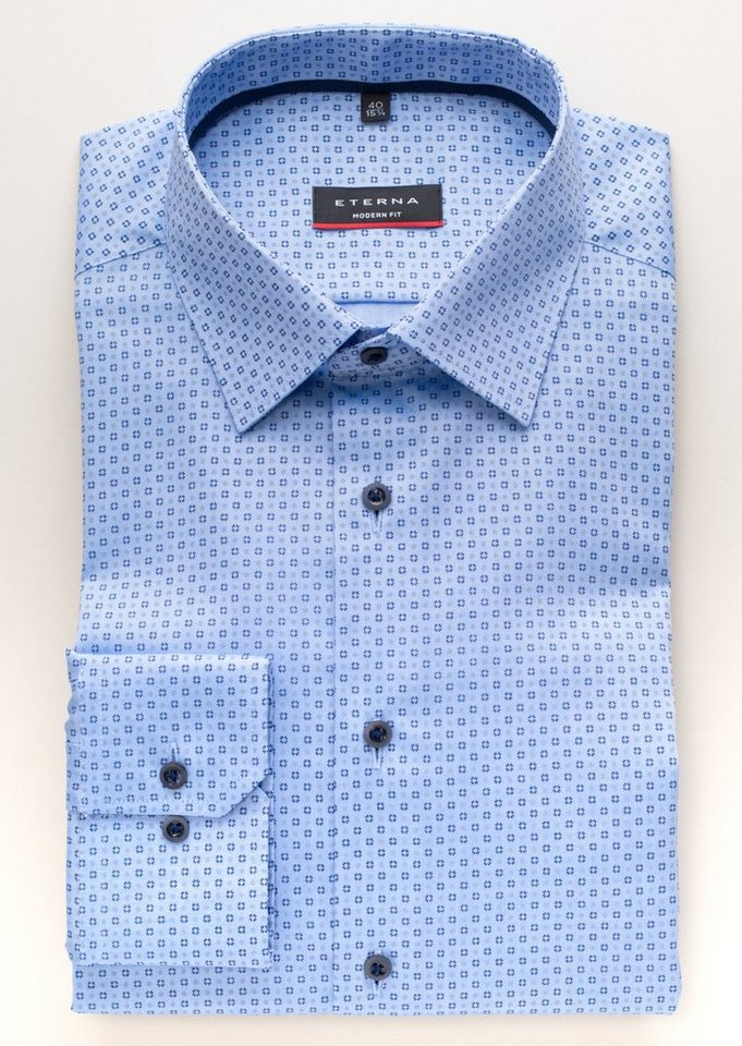 ETERNA Langarm Hemd »MODERN FIT« in blau
