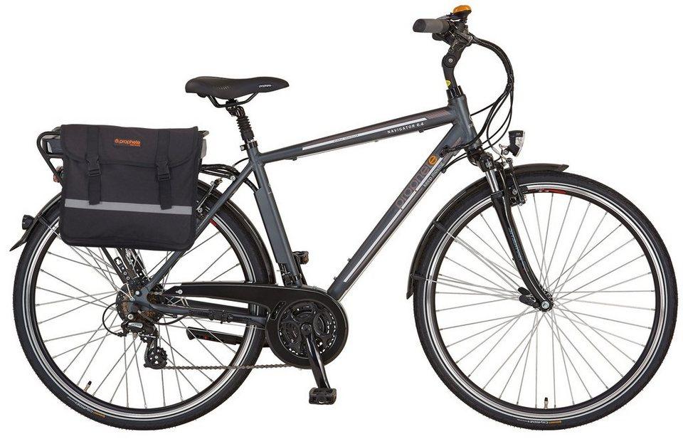 Prophete He. Trekking E-Bike, 36V/250 W HR-Motor, 28 Zoll, 24 G. Shimano Kettensch., »Navigator 6.4« in anthrazit-matt