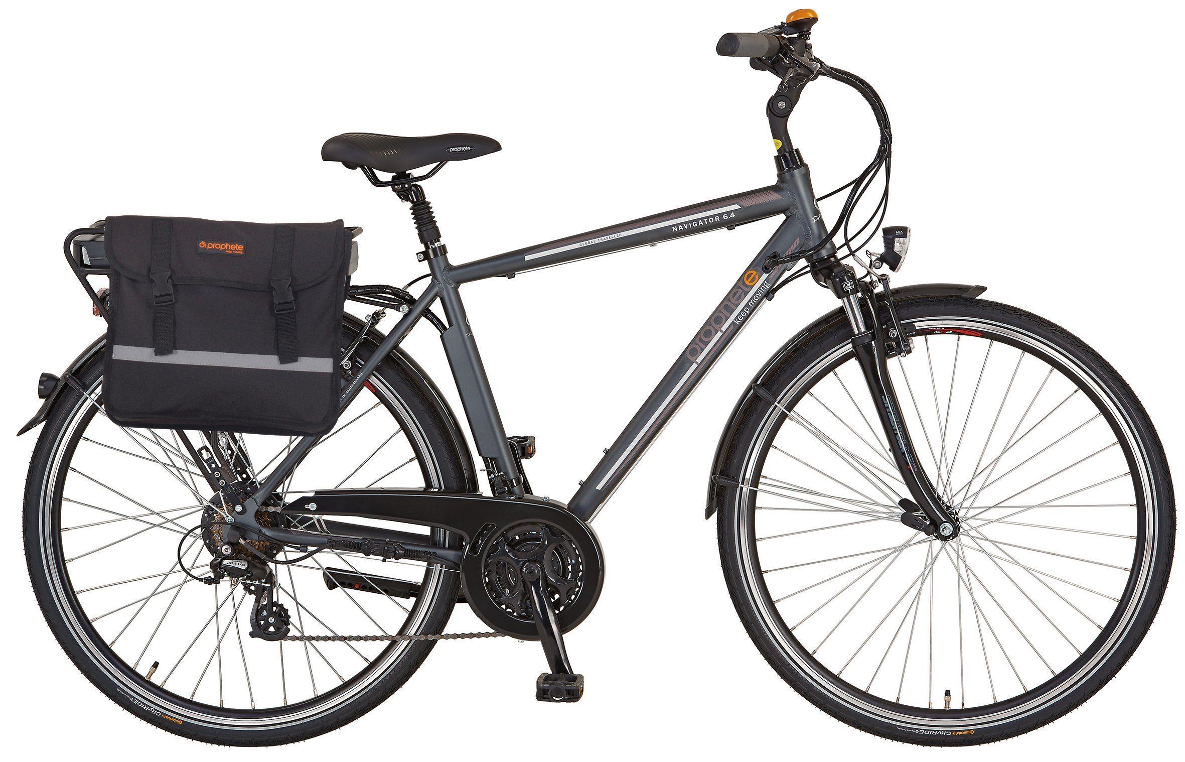 Prophete He. Trekking E-Bike, 36V/250 W HR-Motor, 28 Zoll, 24 G. Shimano Kettensch., »Navigator 6.4« mit Doppelpacktasche