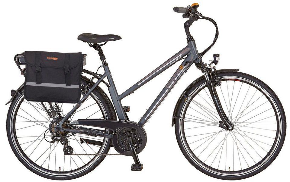 Prophete Da. Trekking E-Bike, 36V/250 W HR-Motor, 28 Zoll, 24 G. Shimano Kettensch., »Navigator 6.4« in anthrazit-matt