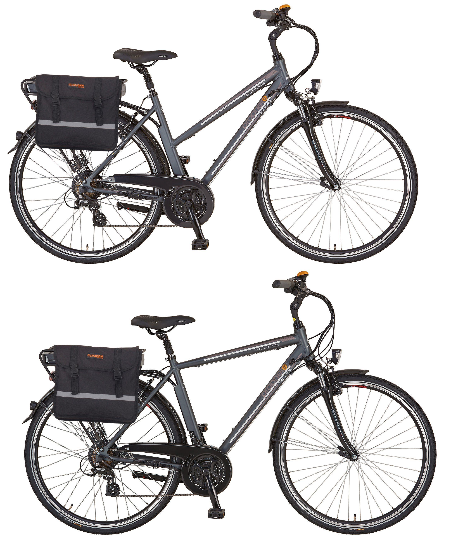 Prophete Sparset Da./He. Trekking E-Bike, 36V/250W HR-Motor, 24 Gang, »Navigator 6.4« mit Doppelpacktasche