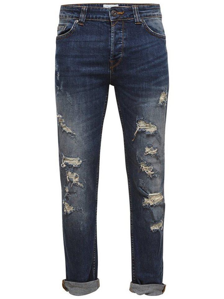 ONLY & SONS Loom med blue breaks Slim Fit Jeans in Medium Blue Denim