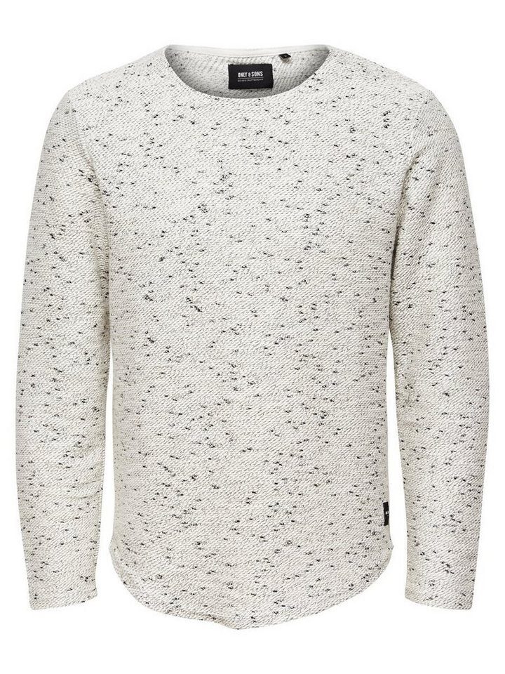ONLY & SONS Melange- Sweatshirt in Off. White Melange
