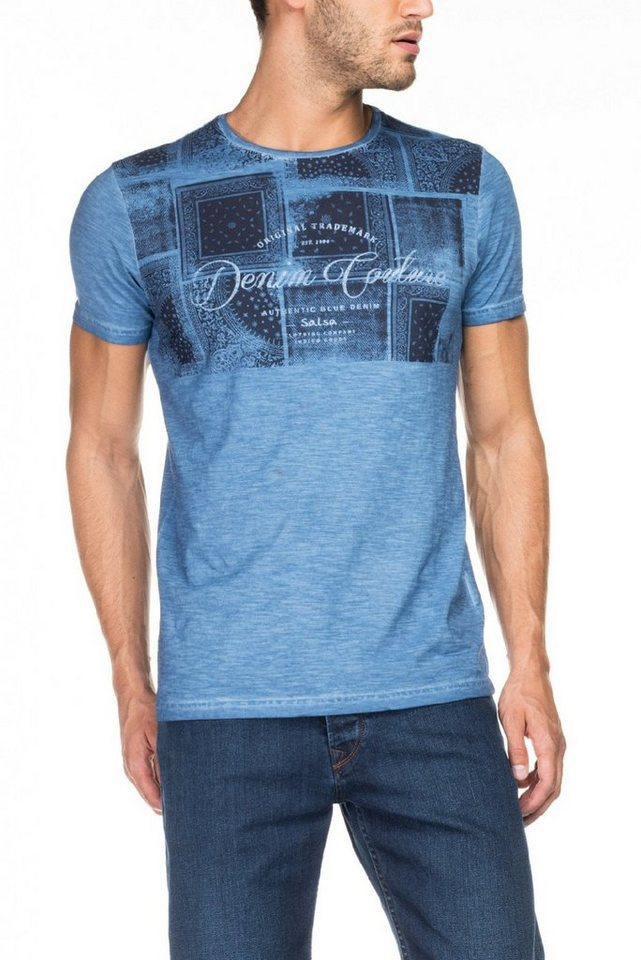salsa jeans T-Shirt, kurzarm »PALM BEACH« in Light bue