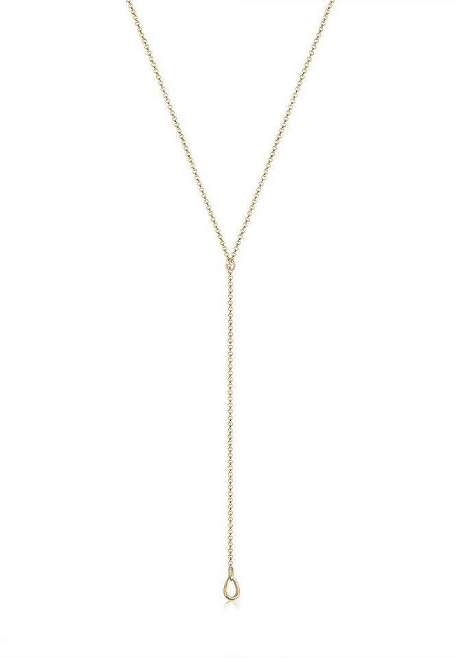 Elli Halskette »Basic Y-Kette Tropfen 925 Sterling Silber« in Gold