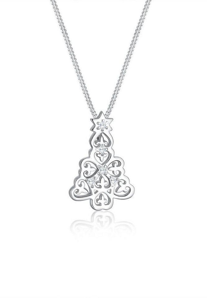 Elli Halskette »Tannenbaum Zirkonia Weihnachten 925 Silber« in Silber