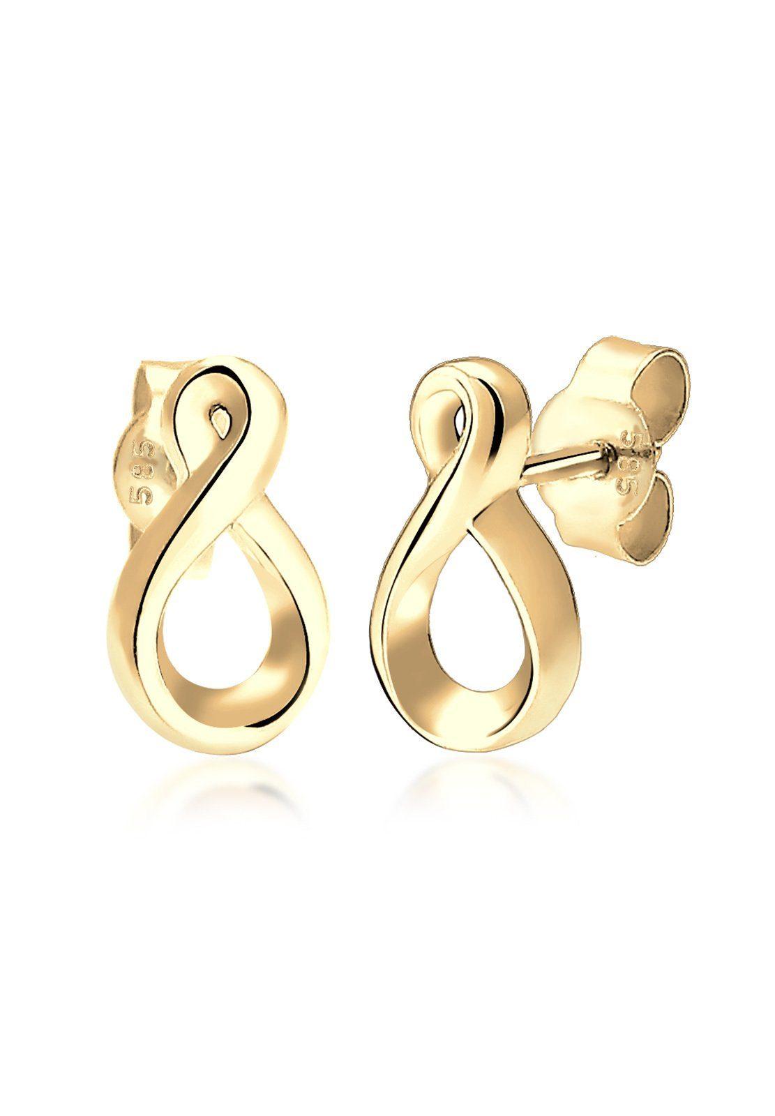 Elli Ohrringe »Infinity Unendlichkeitssymbol 585 Gelbgold«