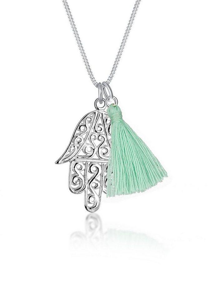 Elli Halskette »Hamsa Hand Quaste Tassel 925 Sterling Silber« in Silber