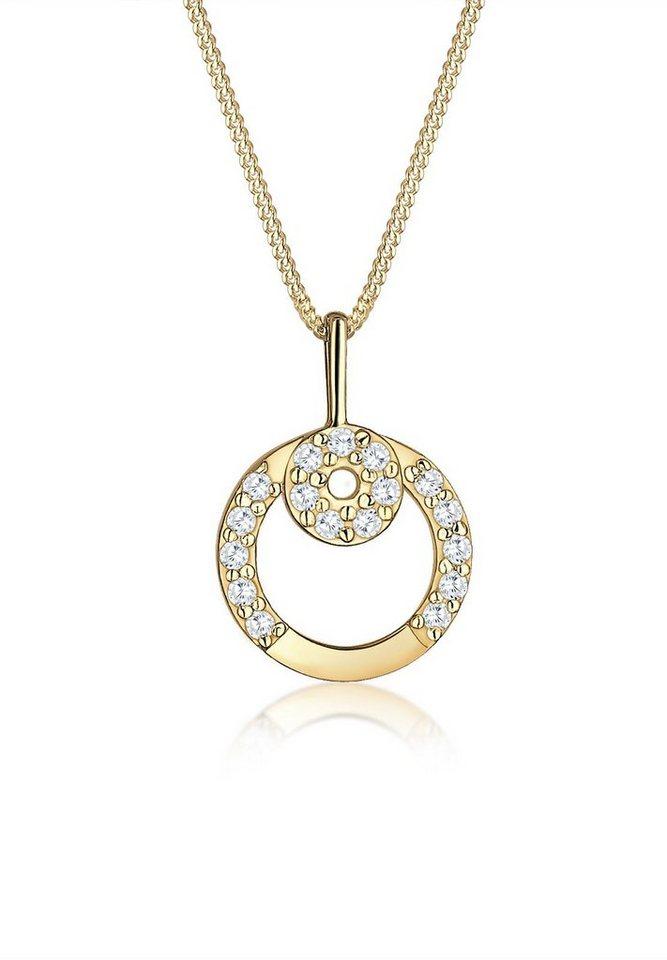 Elli Halskette »Kreis Zirkonia 585 Gelbgold« in Gold