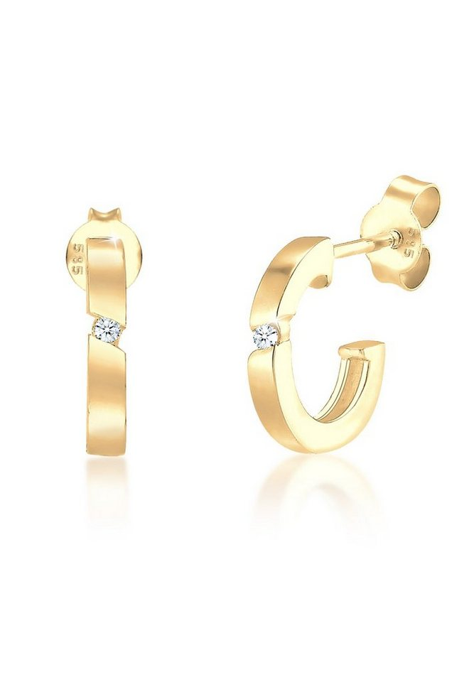 Diamore Ohrringe »Creole Diamant 585 Gelbgold« in Gold