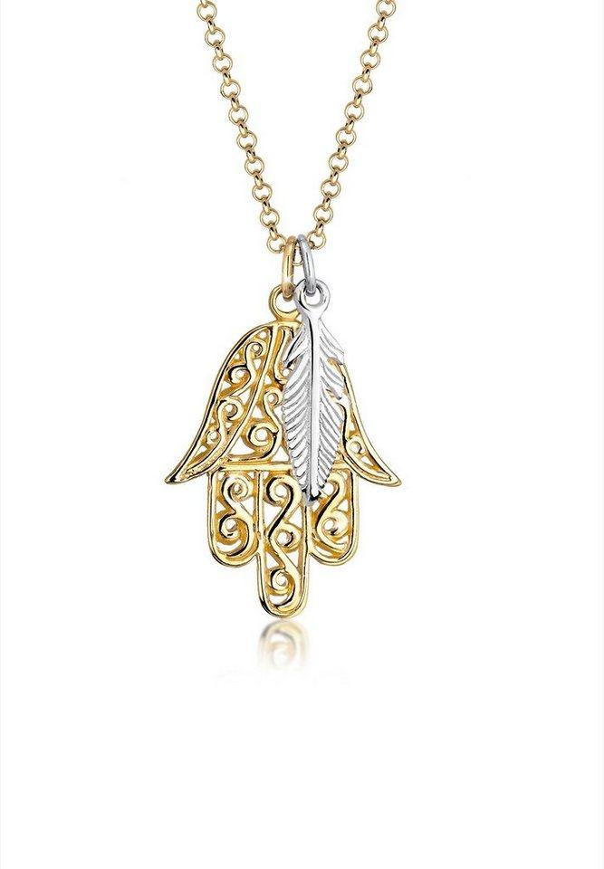Elli Halskette »Bi-Color Hamsa Hand Feder Boho 925 Sterling Silber« in Gold