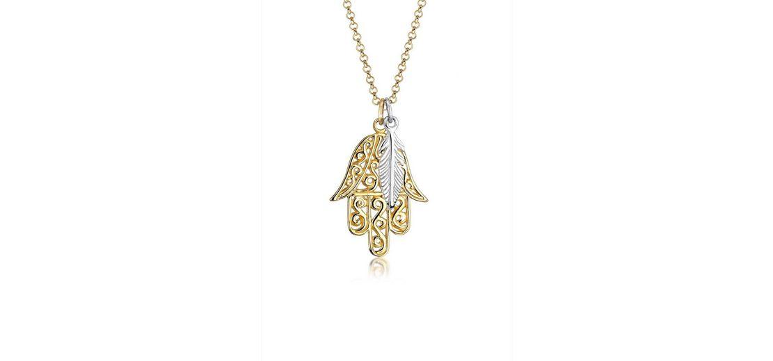 Elli Halskette »Bi-Color Hamsa Hand Feder Boho 925 Sterling Silber«