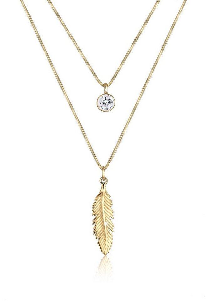 Elli Halskette »Feder Boho Swarovski® Kristalle 925 Silber« in Gold