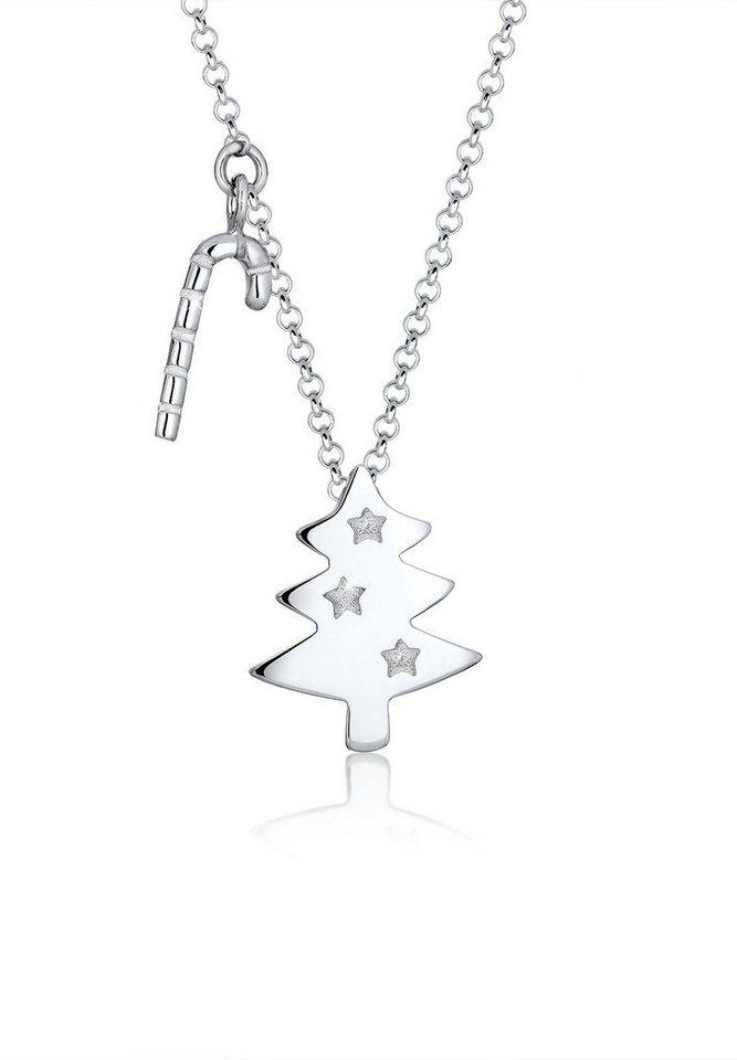 Elli Halskette »Tannenbaum Zuckerstange Weihnachten 925 Silber« in Silber