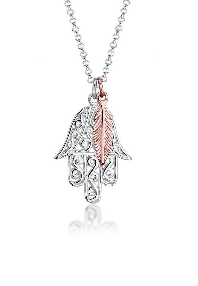 Elli Halskette »Bi-Color Hamsa Hand Feder Boho 925 Sterling Silber« in Silber