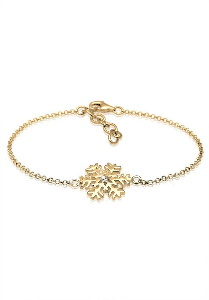 Elli Armband »Schneeflocke Swarovski® Kristalle 925 Silber« in Gold