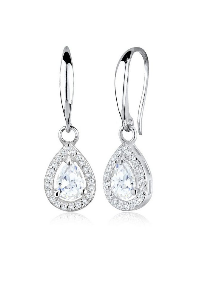 Elli Ohrringe »Tropfen Drop Zirkonia 925 Sterling Silber« in Silber