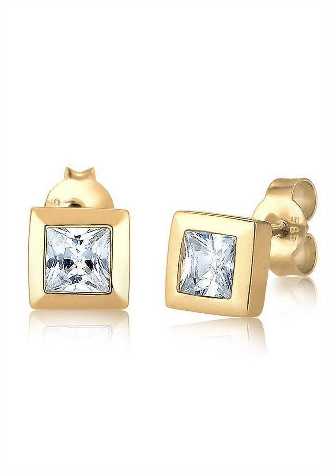 Elli Ohrringe »Viereck Quadrat Zirkonia 585 Gelbgold« in Gold