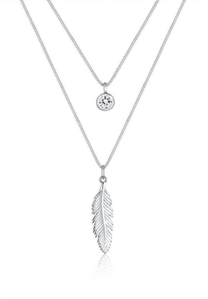 Elli Halskette »Feder Boho Swarovski® Kristalle 925 Silber« in Silber