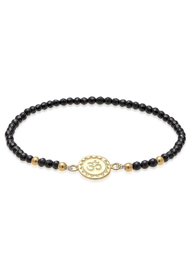 Elli Armband »Om Kraftsymbol Onyx Edelstein 925 Silber« in Schwarz