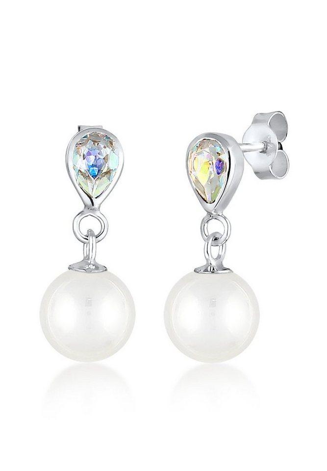 Elli Ohrringe »Tropfen Swarovski® Kristalle Perle 925 Silber« in Silber