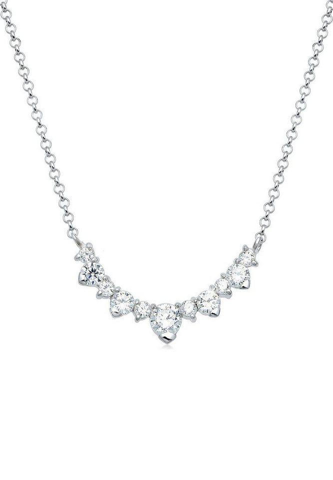 Elli Halskette »Collier Zirkonia 925 Sterling Silber« in Silber