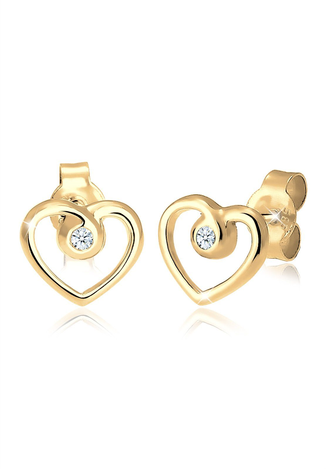Diamore Ohrringe »Herz Liebe Diamant 585 Gelbgold«