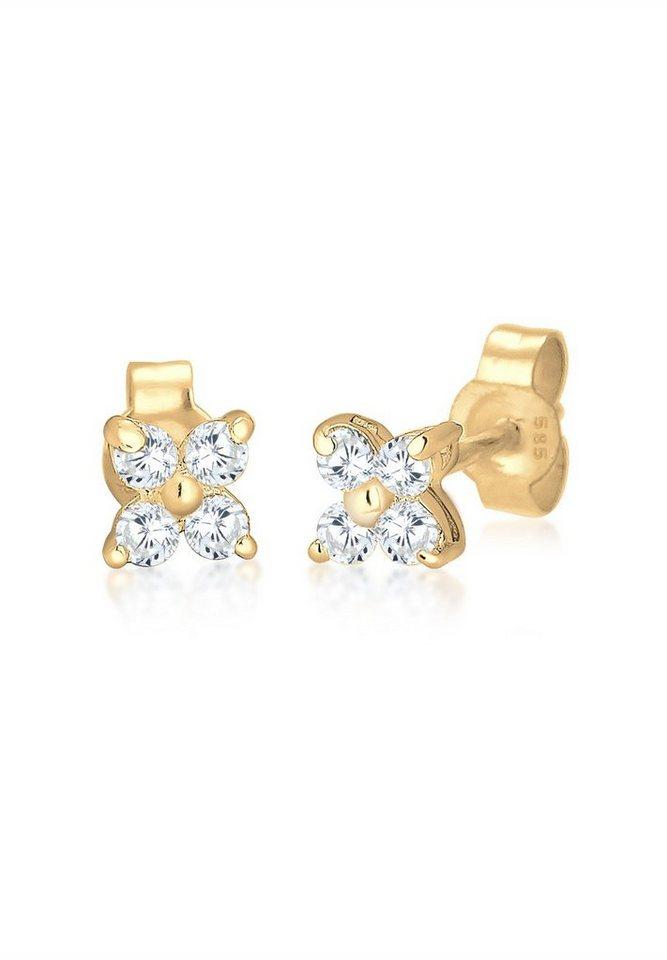 Elli Ohrringe »Blume Zirkonia 585 Gelbgold« in Gold