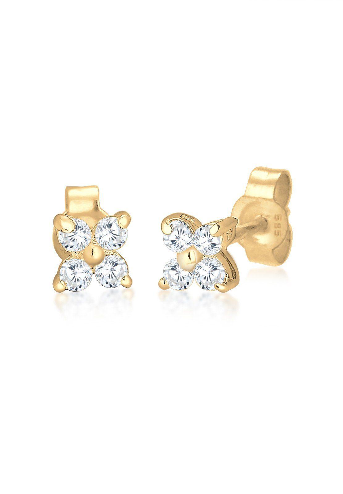 Elli Ohrringe »Blume Zirkonia 585 Gelbgold«
