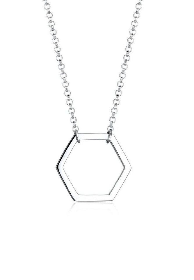 Elli Halskette »Hexagon Geo Minimal 925 Sterling Silber« in Silber