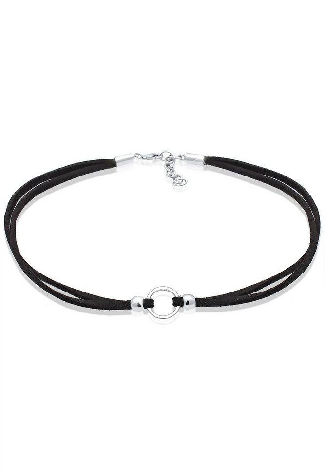 Elli Halskette »Trend Choker Kreis Band 925 Sterling Silber« in Schwarz