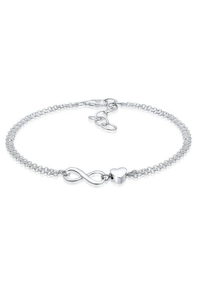 Elli Armband »Herz Unendlichkeit Infinity 925 Silber« in Silber