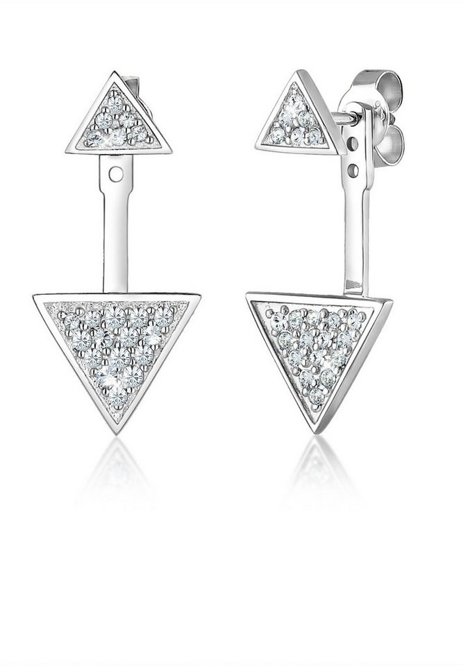Elli Ohrringe »Earstuds Dreieck Swarovski® Kristalle 925 Silber« in Silber