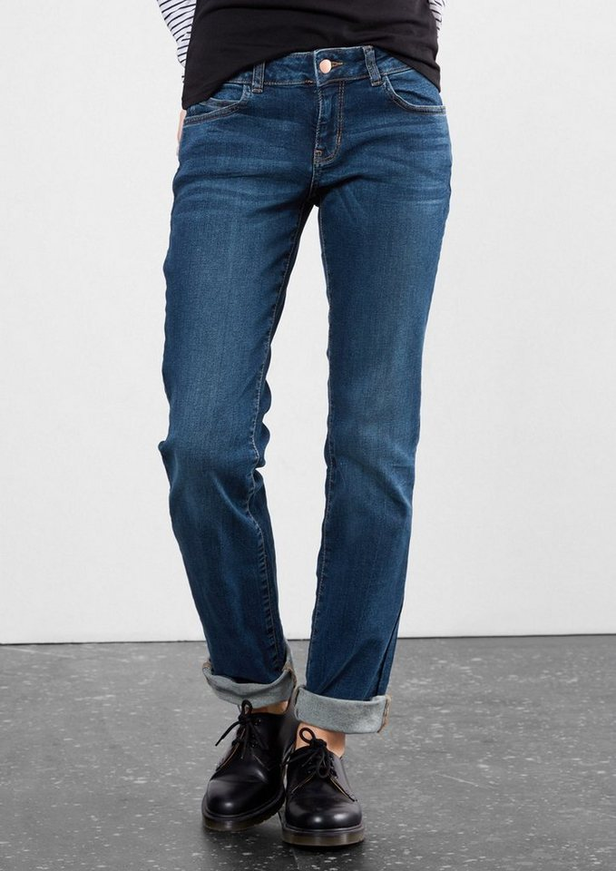 Q/S designed by Straight: Blaue Stretch-Jeans in blue denim, heavy st