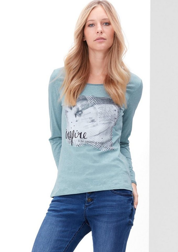 s.Oliver RED LABEL Longsleeve mit Foto-Print in urban blue