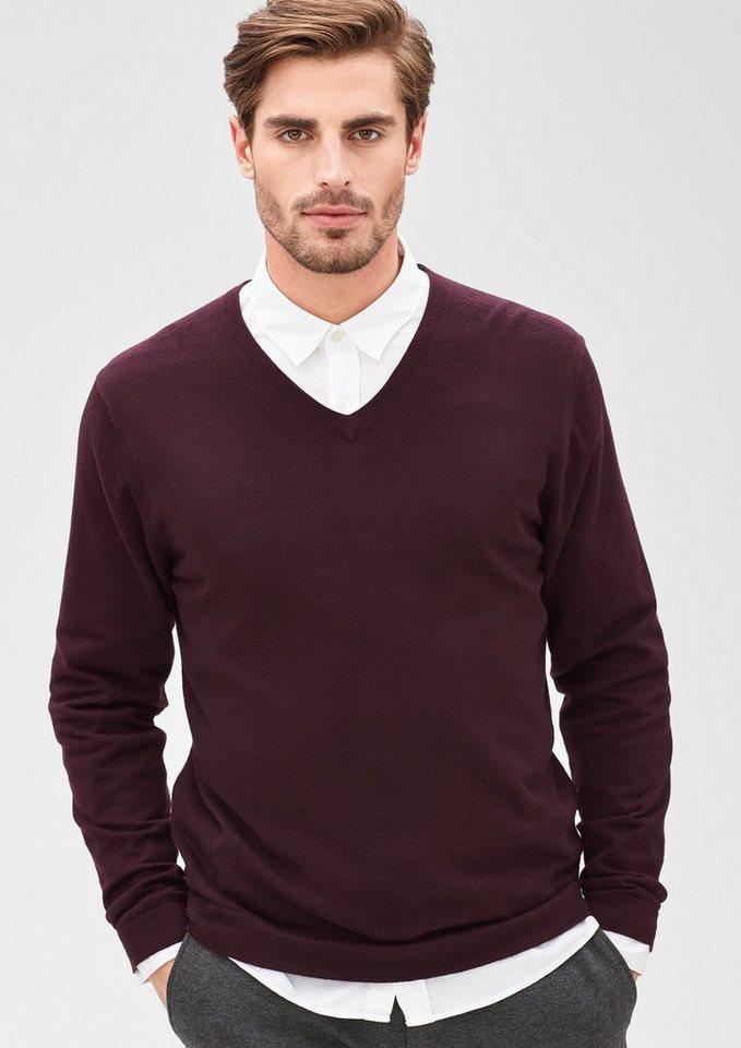 s.Oliver BLACK LABEL Pullover mit Merino-Wolle in purple/pink melange