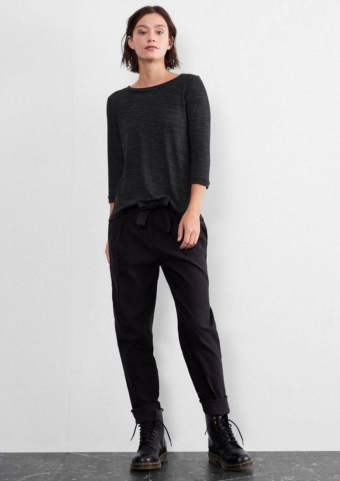 Q/S designed by Meliertes Shirt mit 3/4-Arm in black melange