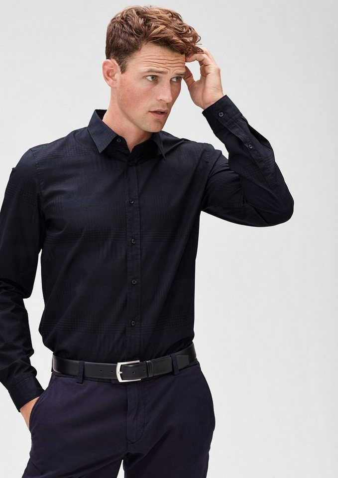 s.Oliver BLACK LABEL Slim: Gemustertes Two-tone-Hemd in dark blue