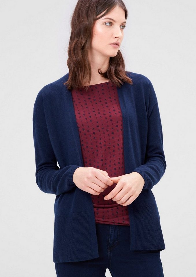 s.Oliver RED LABEL Strickjacke mit Seide und Kaschmir in dark blue melange